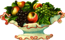 Antique Clipart: Fancy White Fruit Bowl.